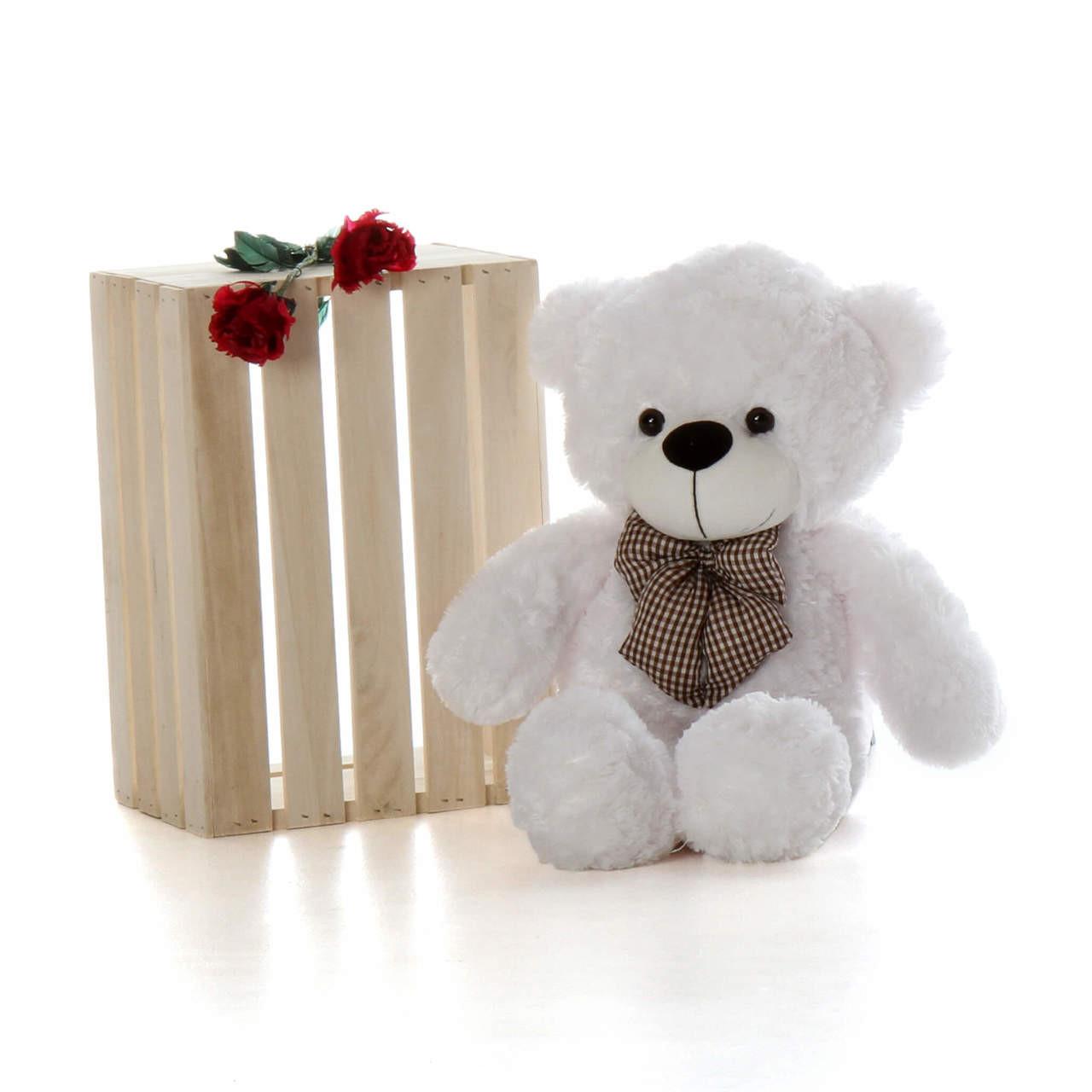 30in huggable heavenly soft fur oversized white teddy bear Coco Cuddles