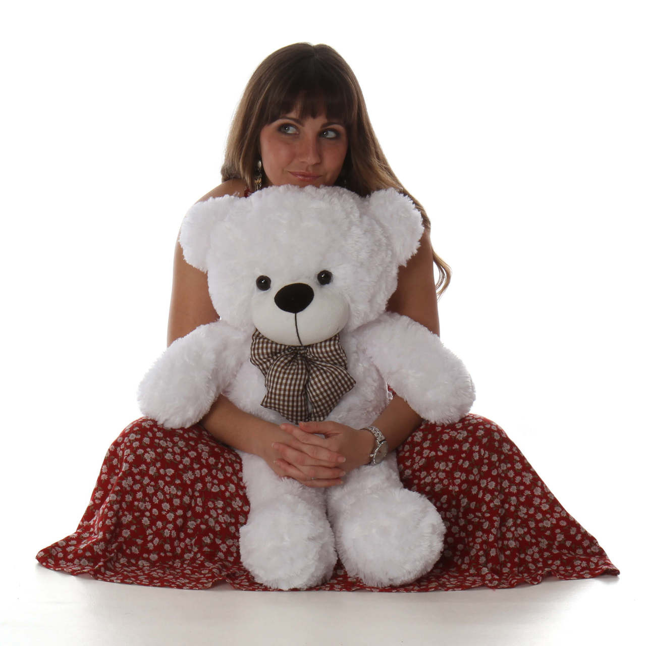 "Coco Cuddles 30"" Big White Stuffed Teddy Bear"