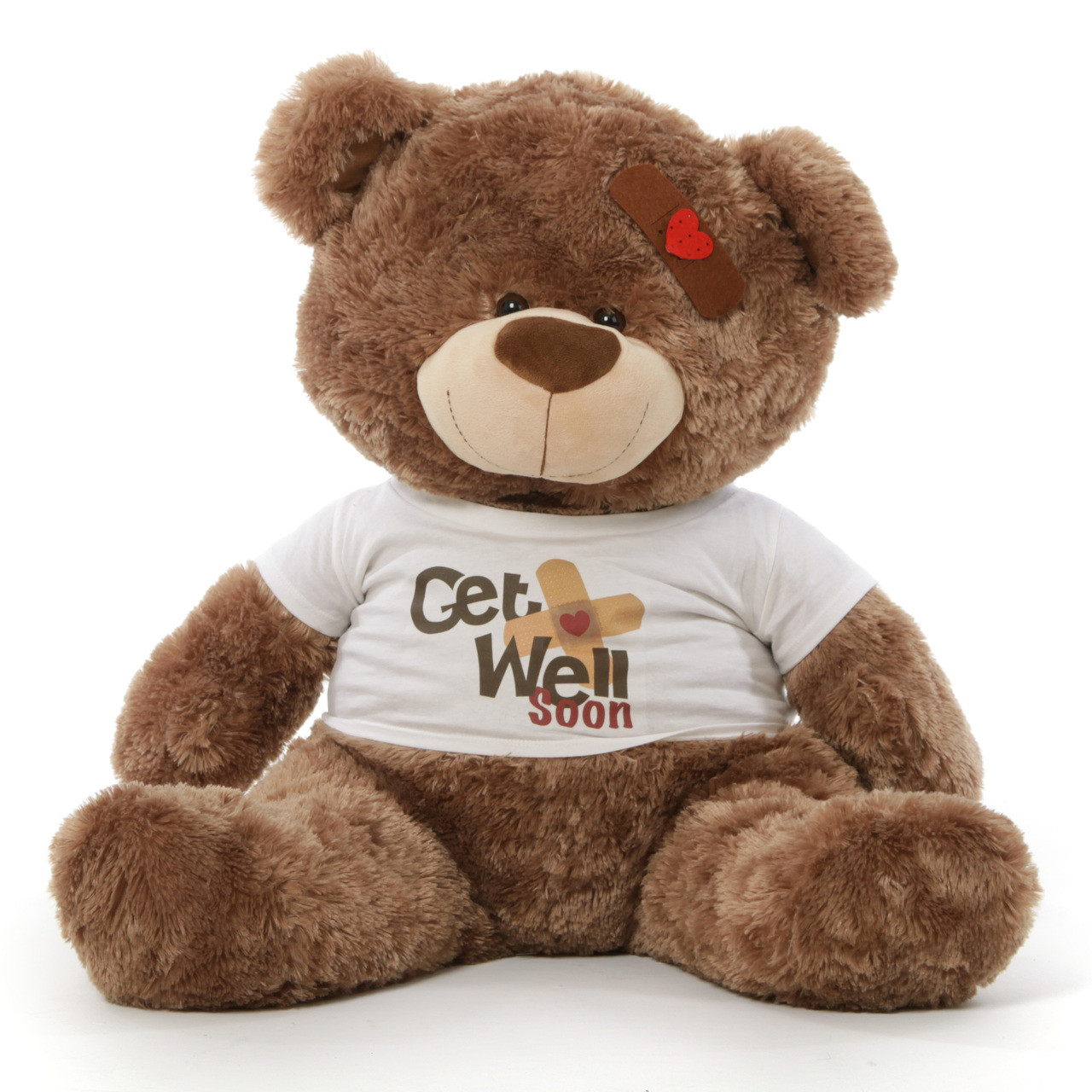 adorable big get well soon teddy bears in 3 colors with custom shirt