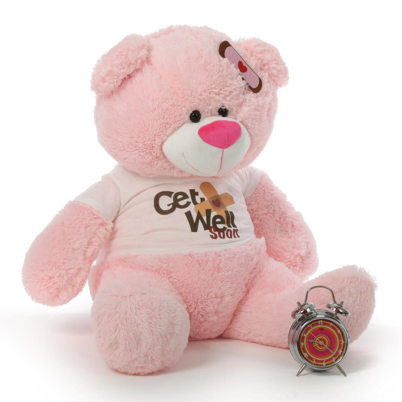 "35"" Get Well Soon Pink Teddy Bear"