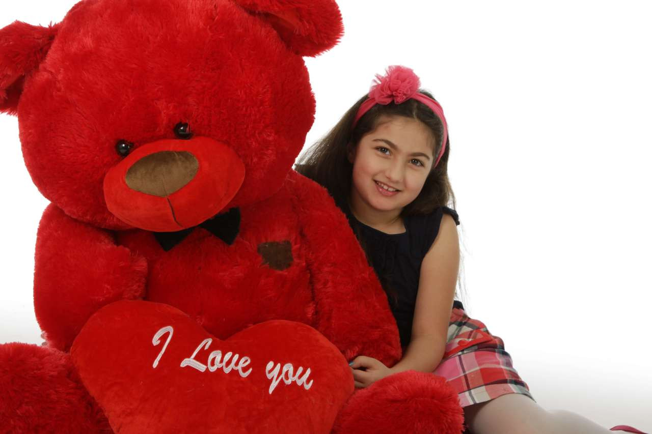 45in Red Valentine's Day Teddy Bear Randy Shags (close up)