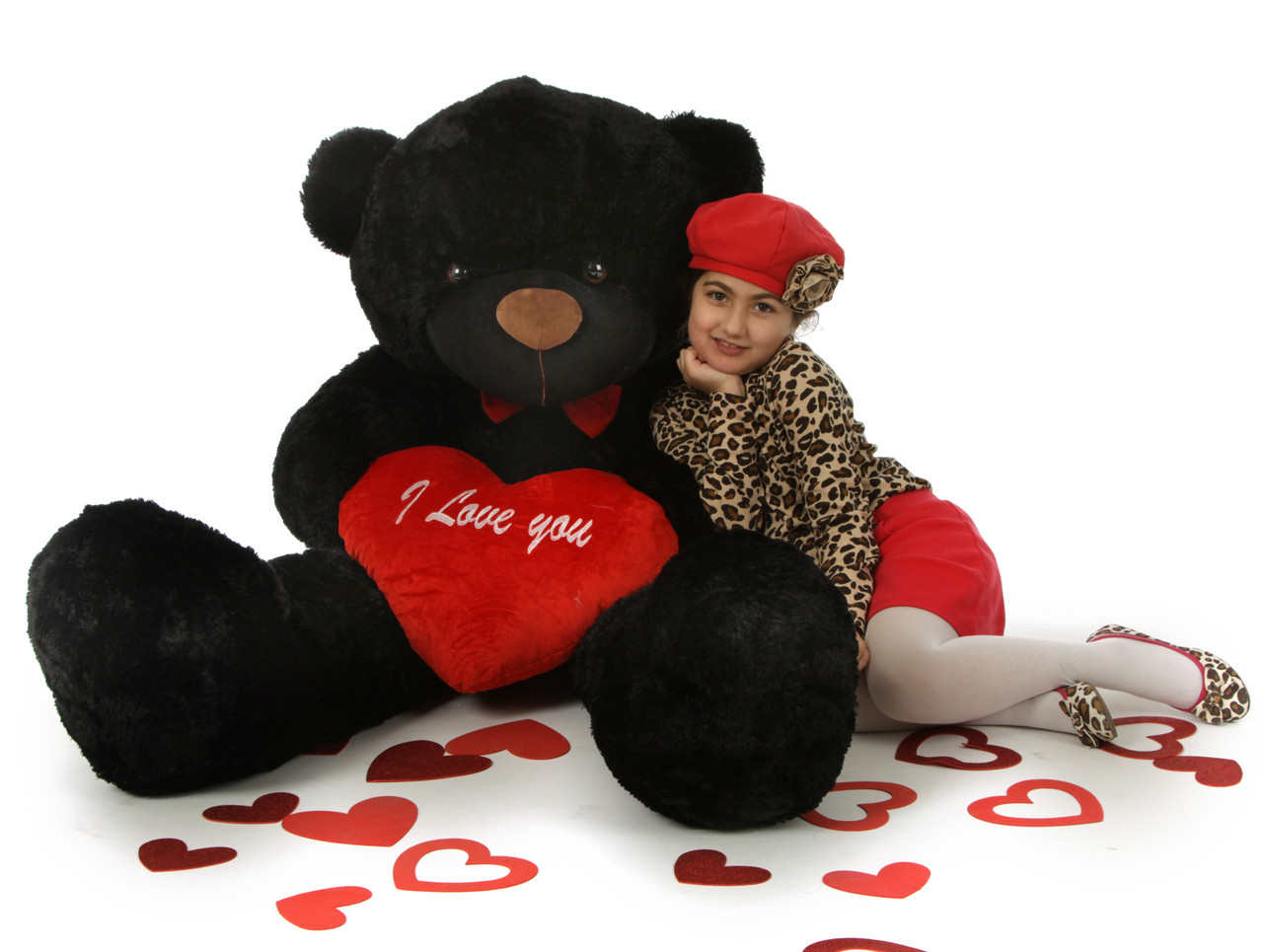 Huge 5ft Black Valentine S Day Teddy Bear With Plush I Love You