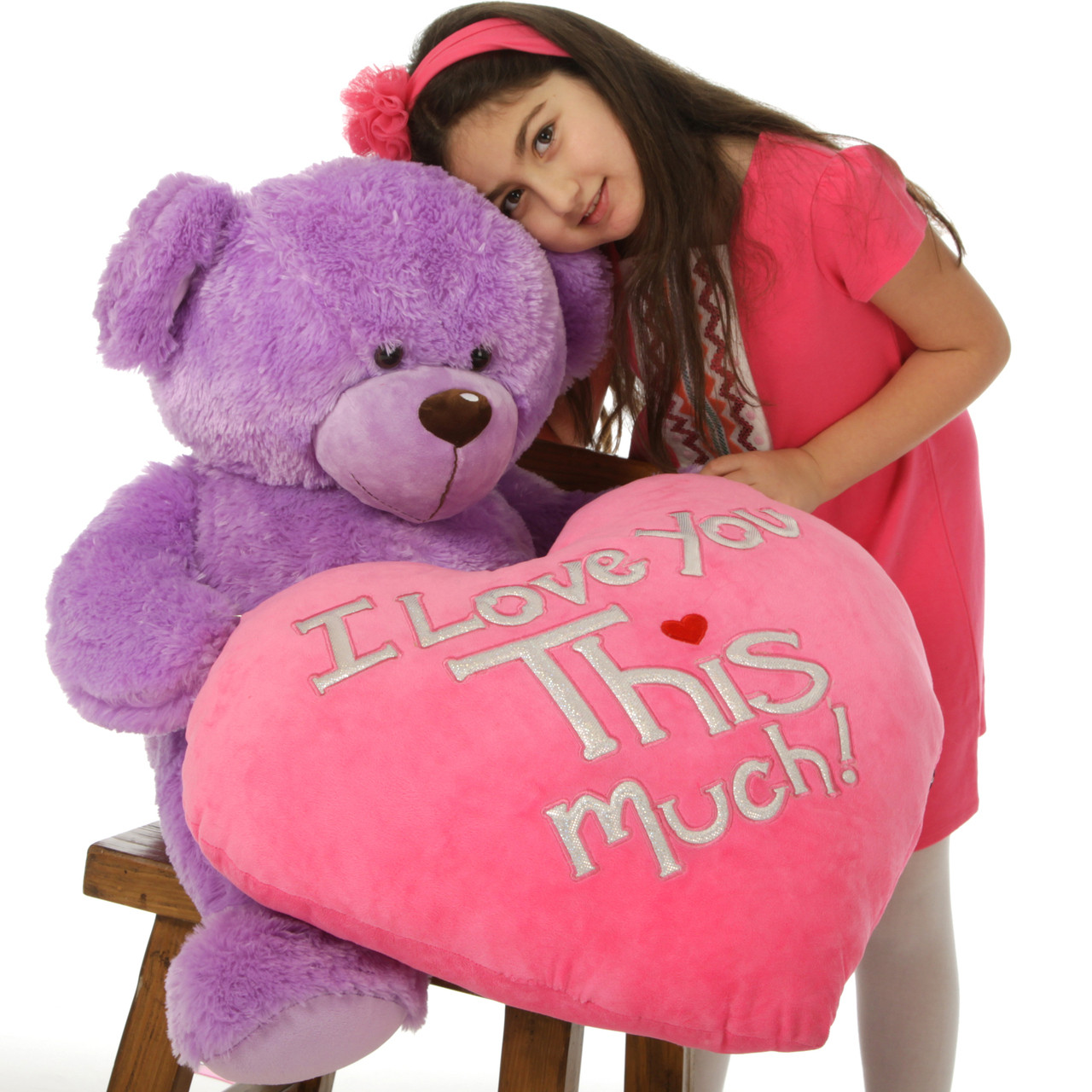 Big 36in purple valentines teddy bear with huge plush i love you heart adorable 36in purple valentines teddy bear with i love you this much plush pink heart altavistaventures Images
