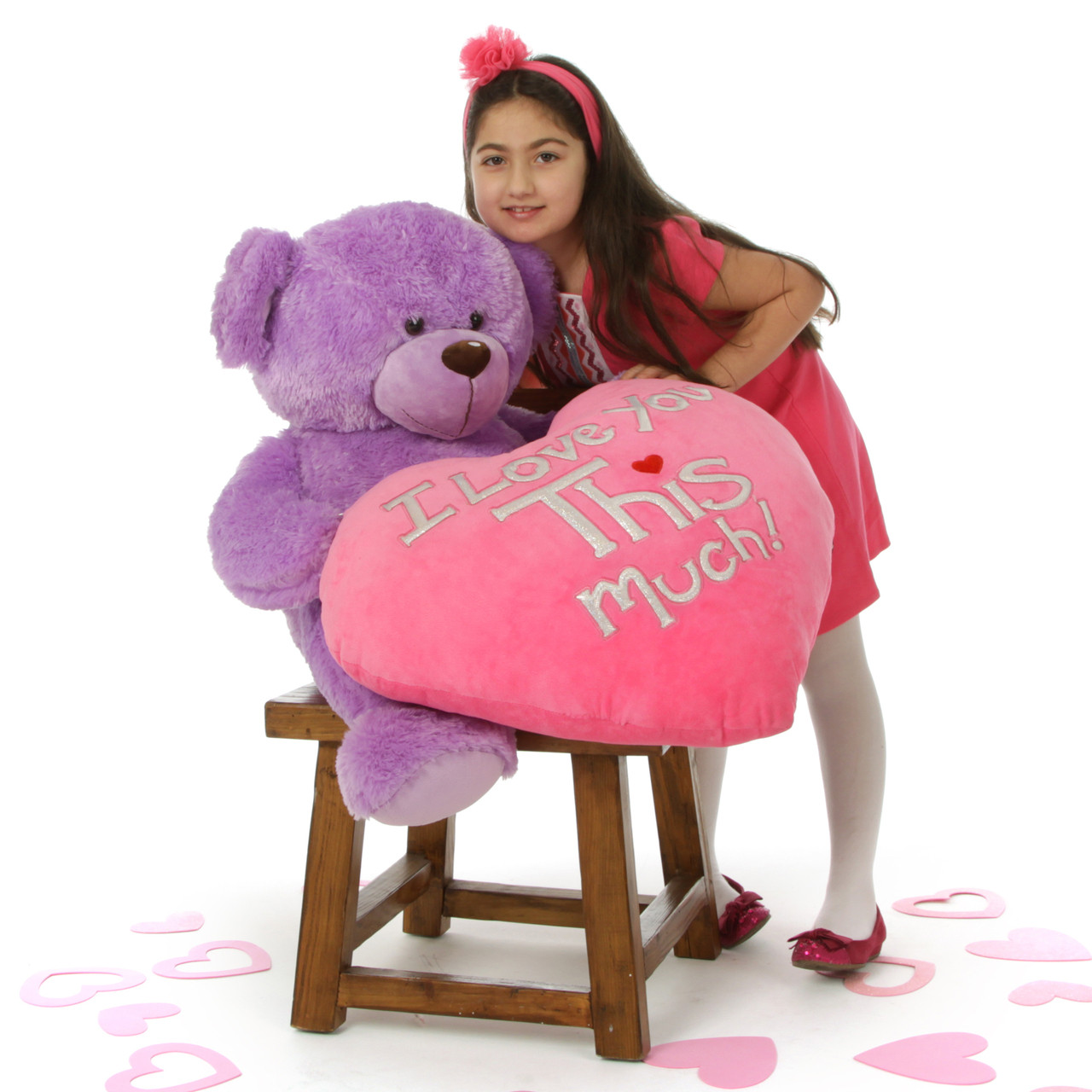 """Purple Sewsie Big Love is 30in and ready for Valentine's Day with her huge """"I Love You THIS Much!"""" plush pink heart"""