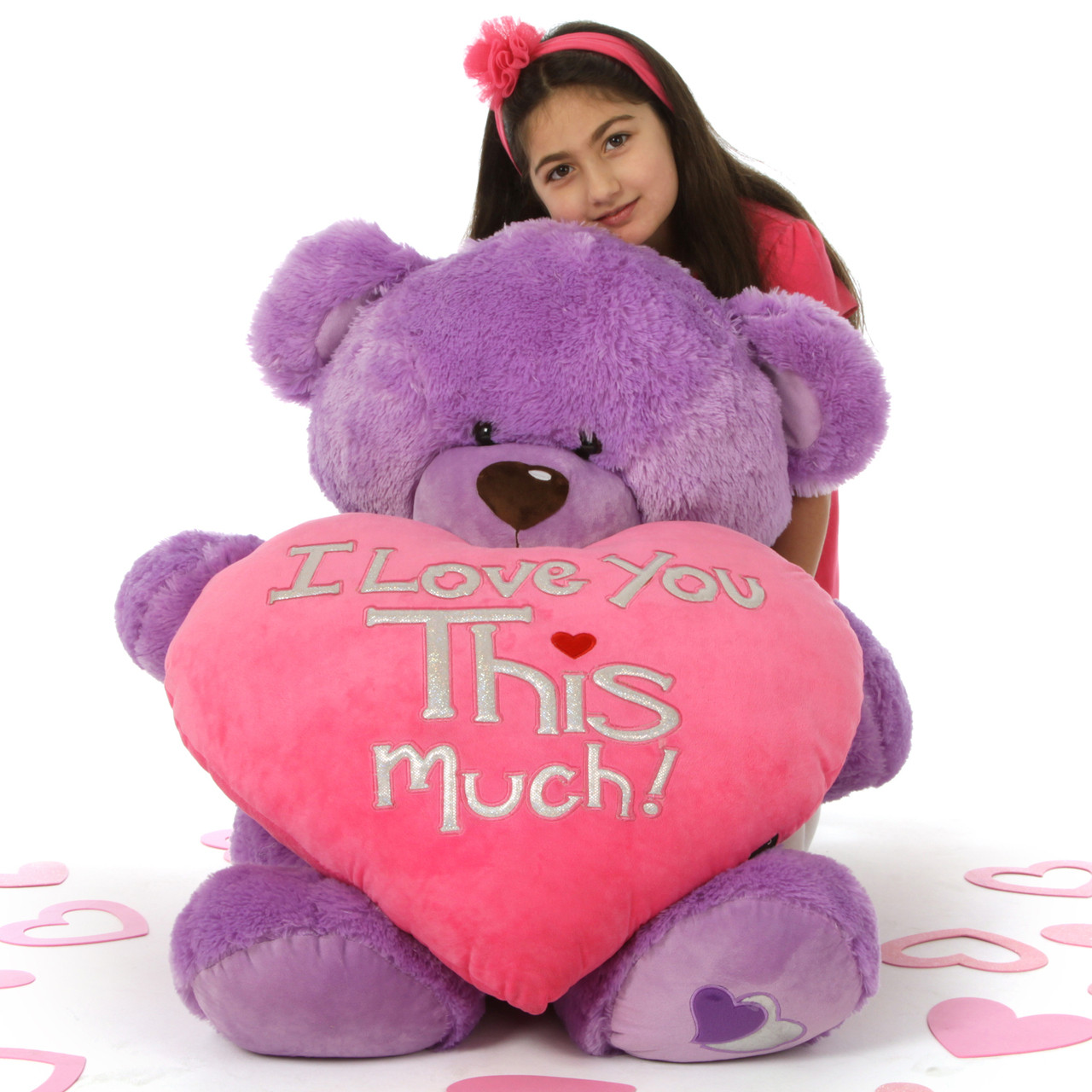 3 Ft Purple Valentineu0027s Day Teddy Bear Sewsie Big Love U2013 She Loves You THIS  Much