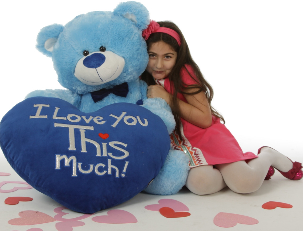 """Marty Shags with a huge """"I Love You This Much!"""" royal blue plush heart – 45in (Close Up)"""