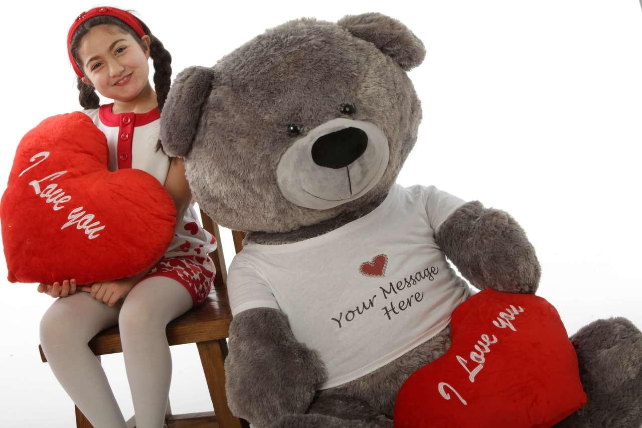 Diamond Shags Valentine's Day Teddy Bear - 52in (with my boo!)