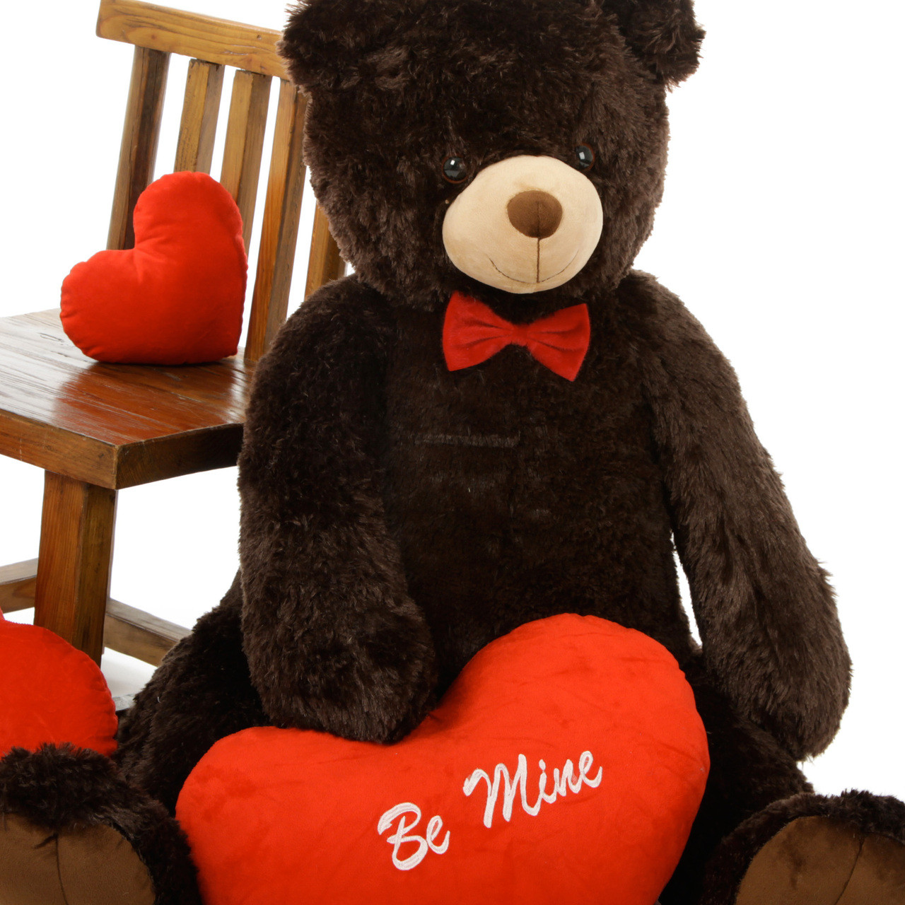 Life Size Chocolate Teddy Bear Baby Tubs with Red Be Mine Heart