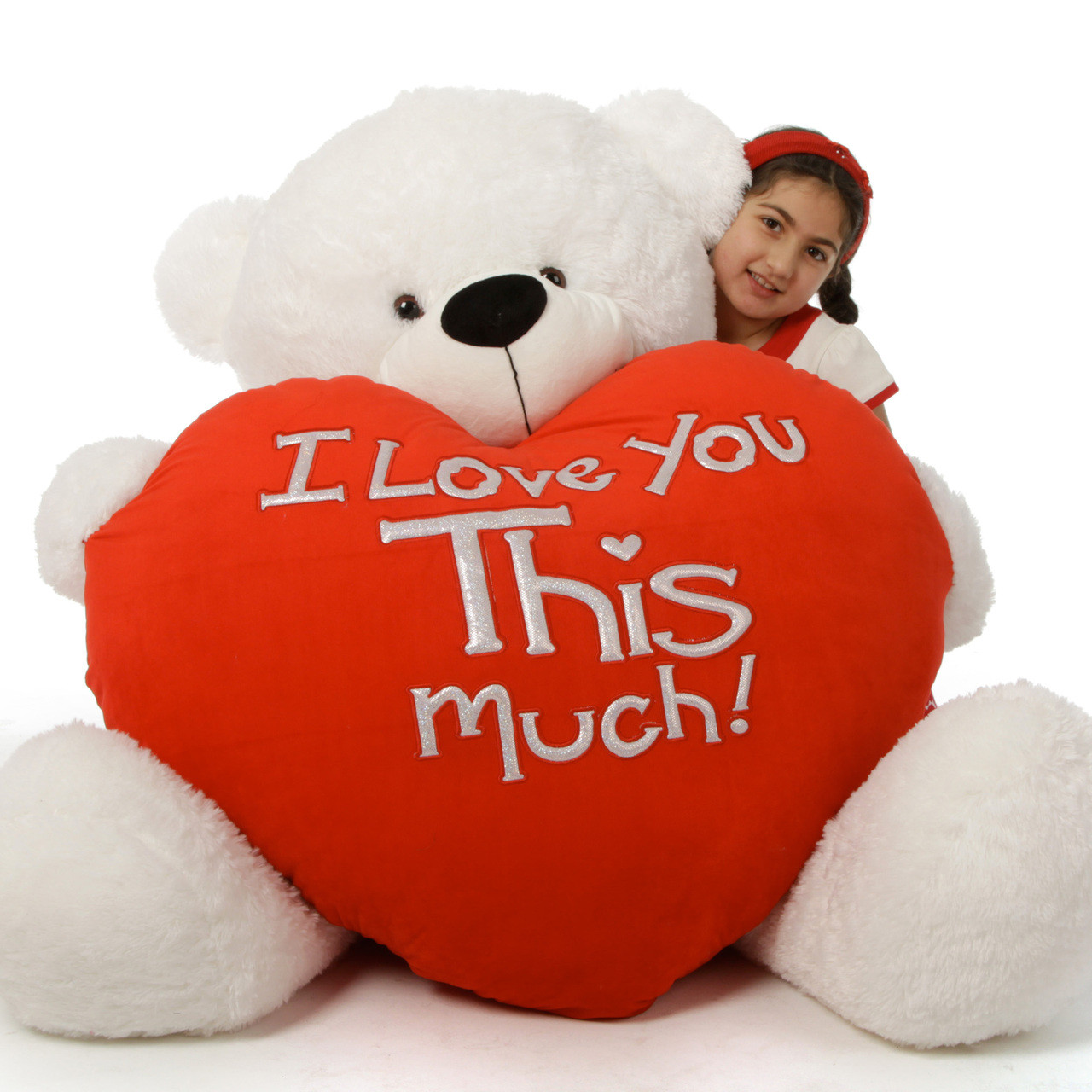 Giant white valentines day teddy bear coco cuddles 60in i love you coco cuddles is ready for romance with red i love you this much voltagebd Gallery