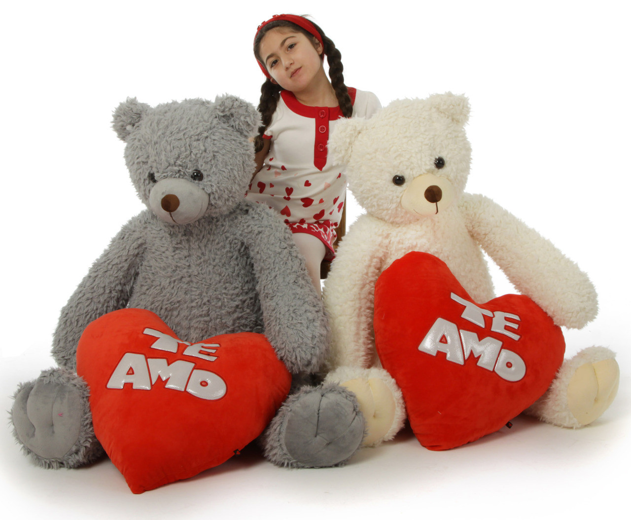 Te Amo! Huge 42in Valentine's Day Teddy Bears from our Woolly Tubs Family: Sugar (silver) Ginger (ginger-white)