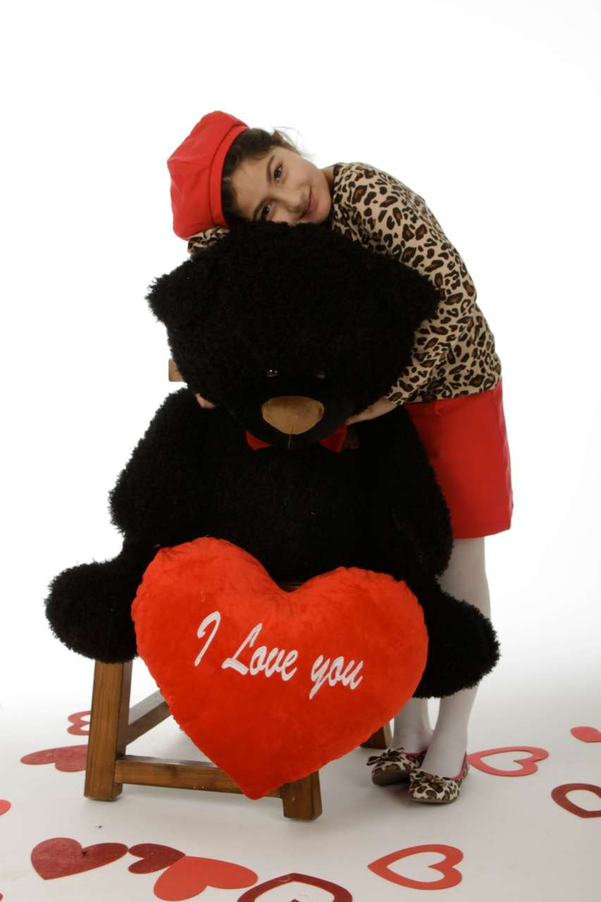 "35in Black Teddy Bear Ricardo Fluffy Shags with red ""I Love you"" heart and red bowtie"