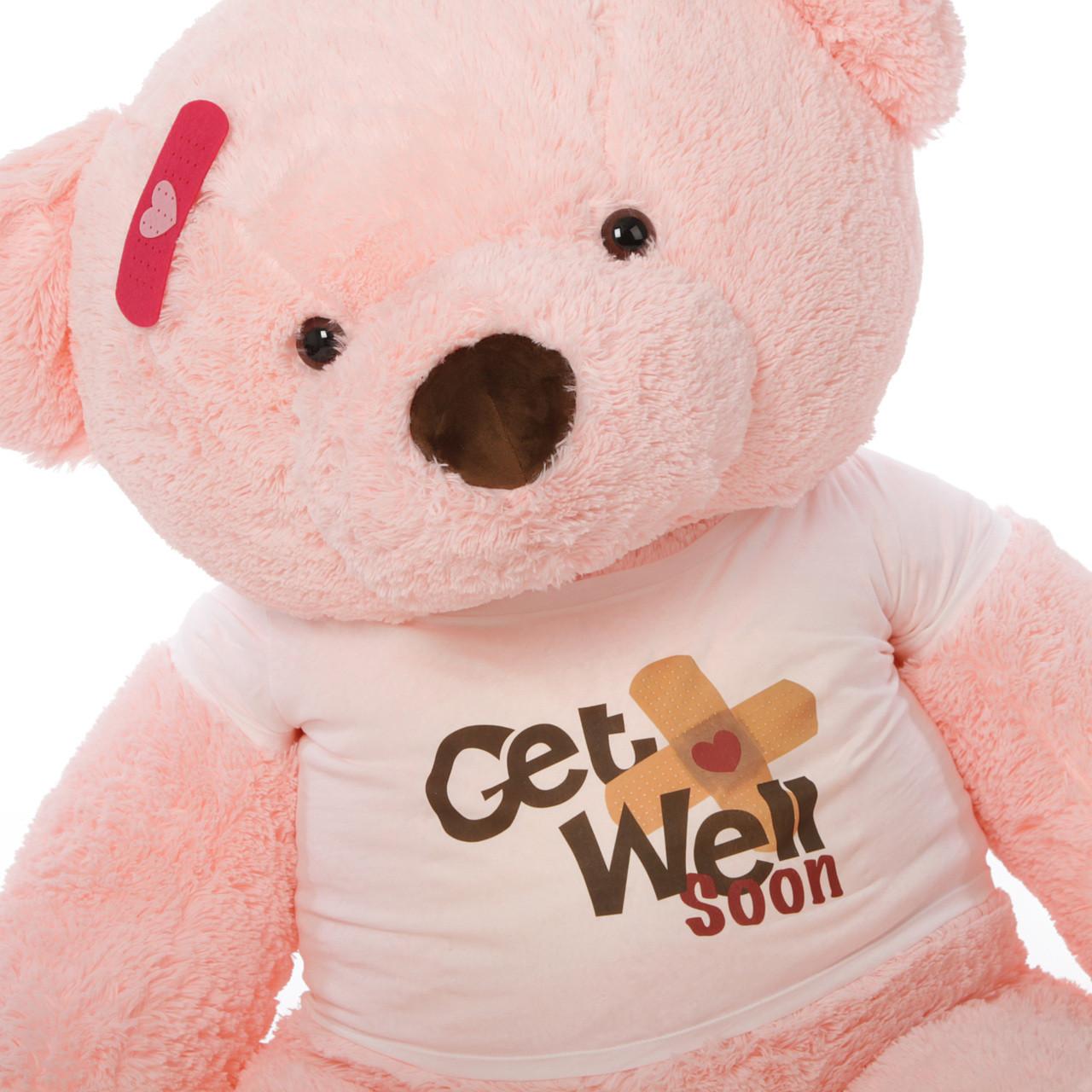 5ft Get Well Soon Pink Teddy Bear, Gigi Chubs (Close Up)