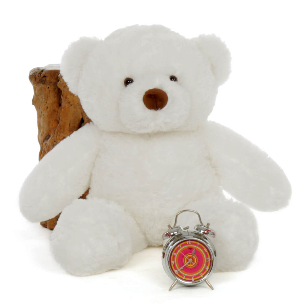 30in Sprinkle Chubs Giant White Teddy Bear (Clock and Log NOT included)