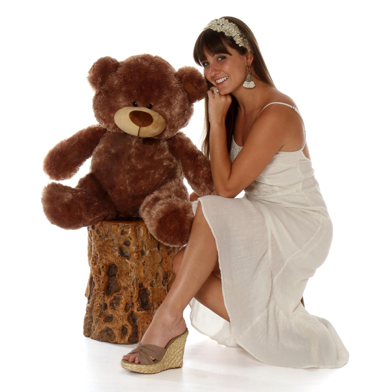 3 Foot Brown Big  Teddy Bear Sitting Position Shags