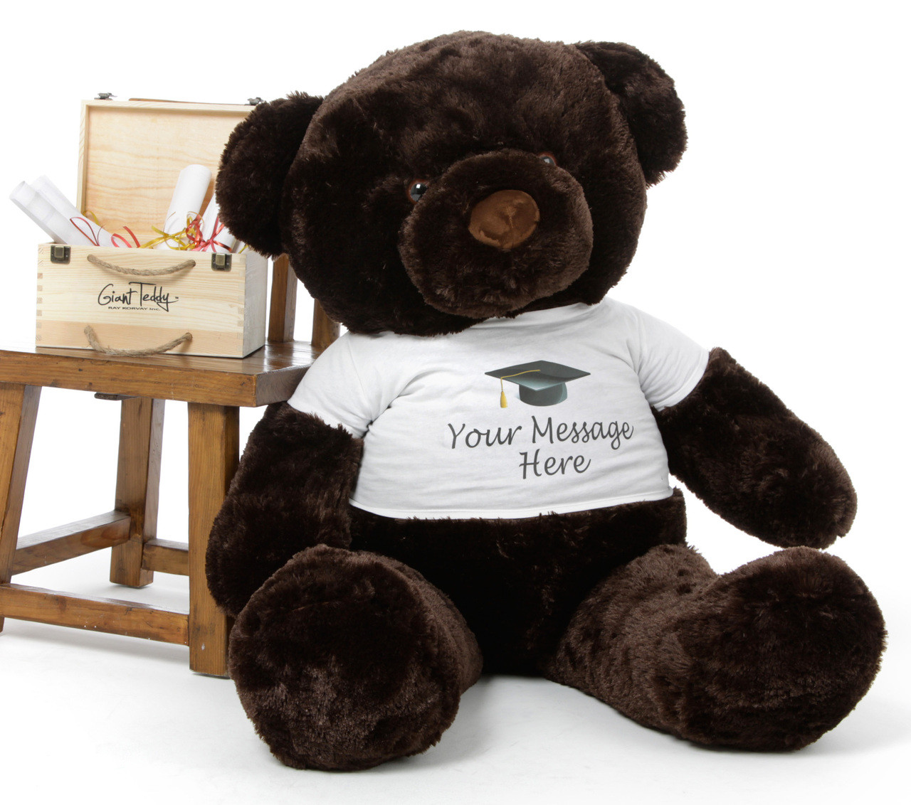 48in Personalized Chubs Graduation Bear, Chocolate Brown