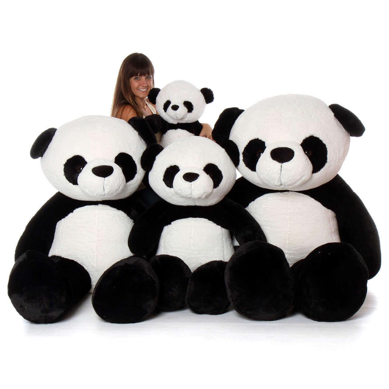 Big Plush Stuffed Giant Panda Family