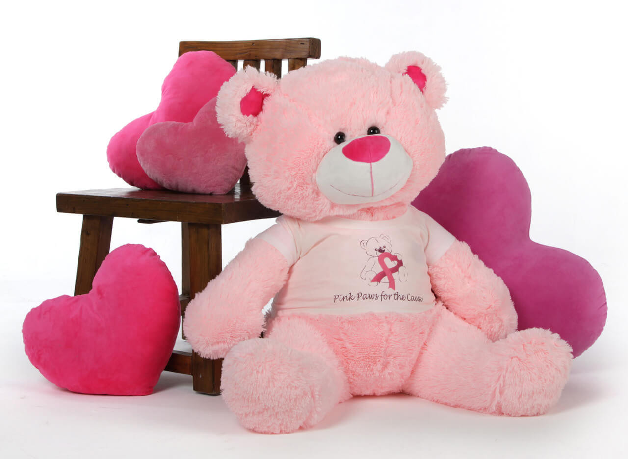 Pink Giant Teddy Bear Lulu Shags 4 Feet of Support for Breast Cancer Awareness