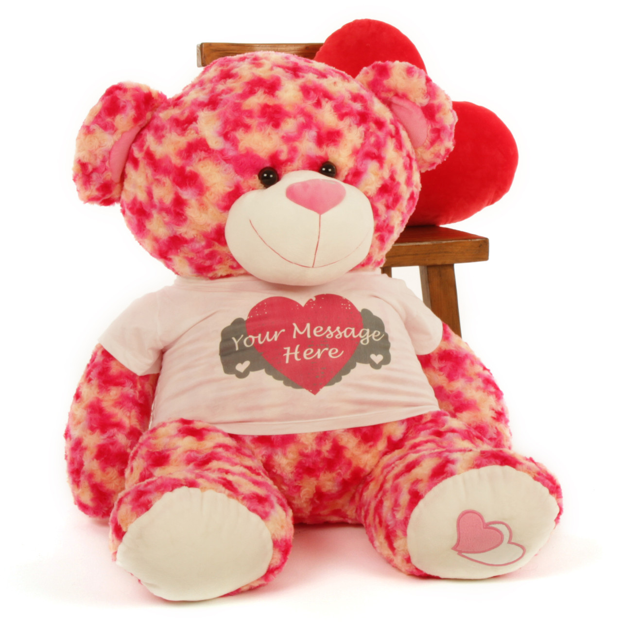 3½ ft Personalized Pink & Cream Valentine's Day Teddy Bear