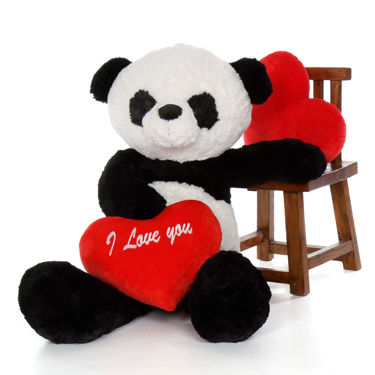"4ft Valentine's Day Big Panda Bear Ricky Xiong with red ""I Love You"" heart"