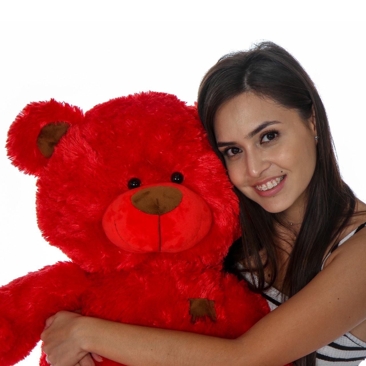 Adorable Red Sitting Position Big Teddy Bear