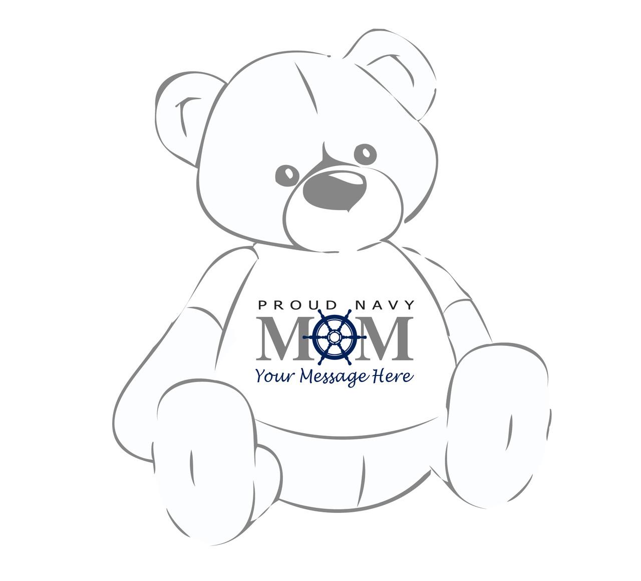 Personalized Proud Navy Mom Ship's Wheel Giant Teddy Bear shirt