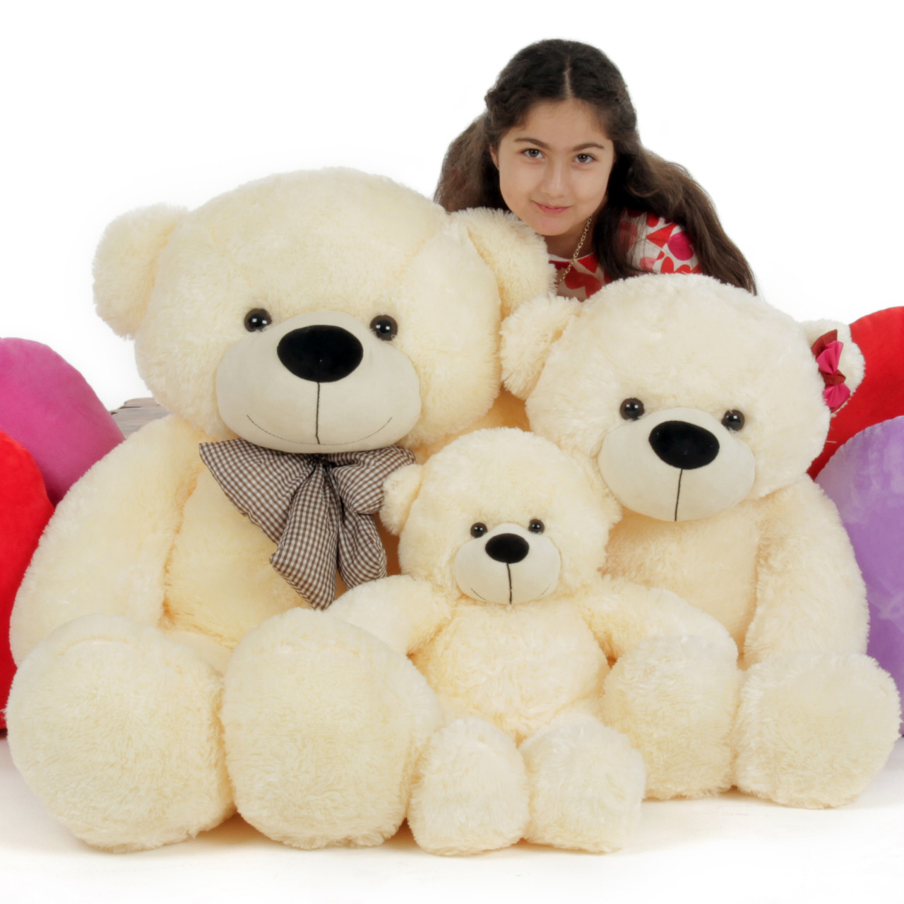 Huge Three Bear Family and Goldilocks, Giant Teddy Cozy Cuddles Family