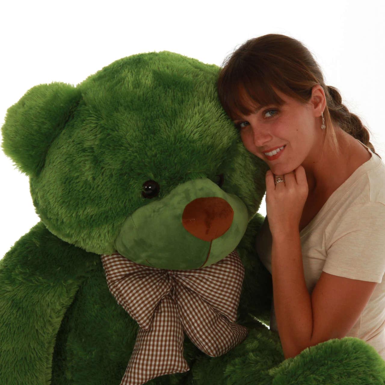 48in green teddy bear soft snuggly rich green big and soft bear