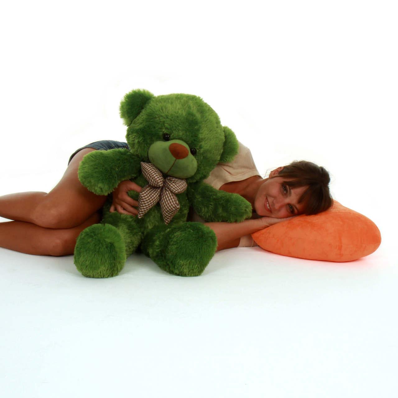 Big Green Teddy Bear Lucky Cuddles 30in