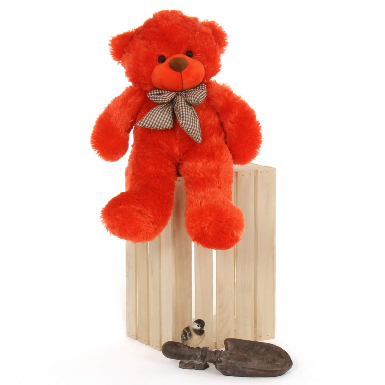 24in snuggly Teddy Bear brown nose and  Huggable soft body Lovey Cuddles bright Orange Red Fur