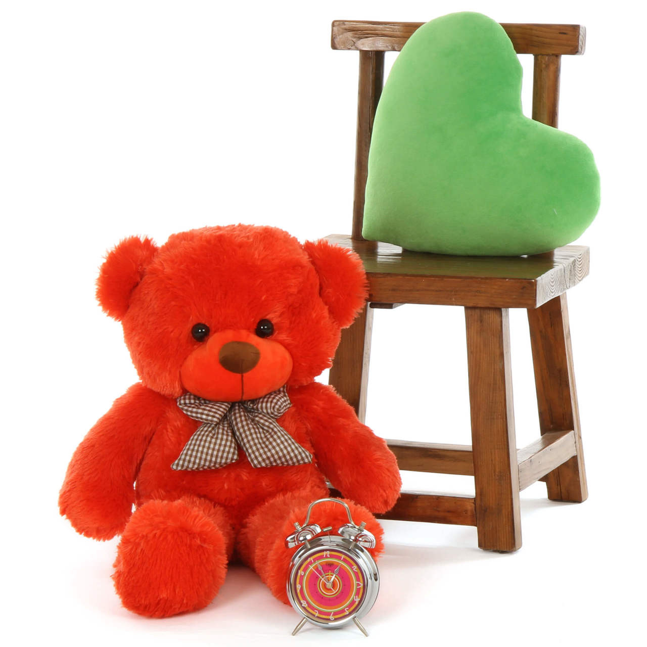 30in Big Teddy Bear Lovey Cute Cuddles Beautiful Orange Red Fur