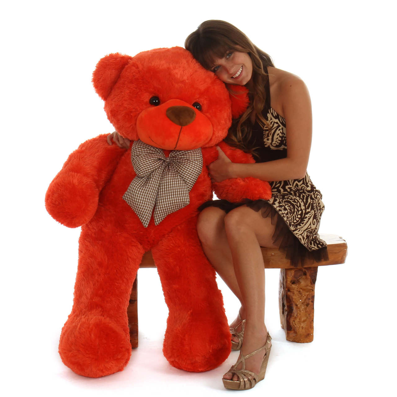 48in Life Size cute Teddy Bear Beautiful Orange Red cuddly soft  Unique Lovey Cuddles