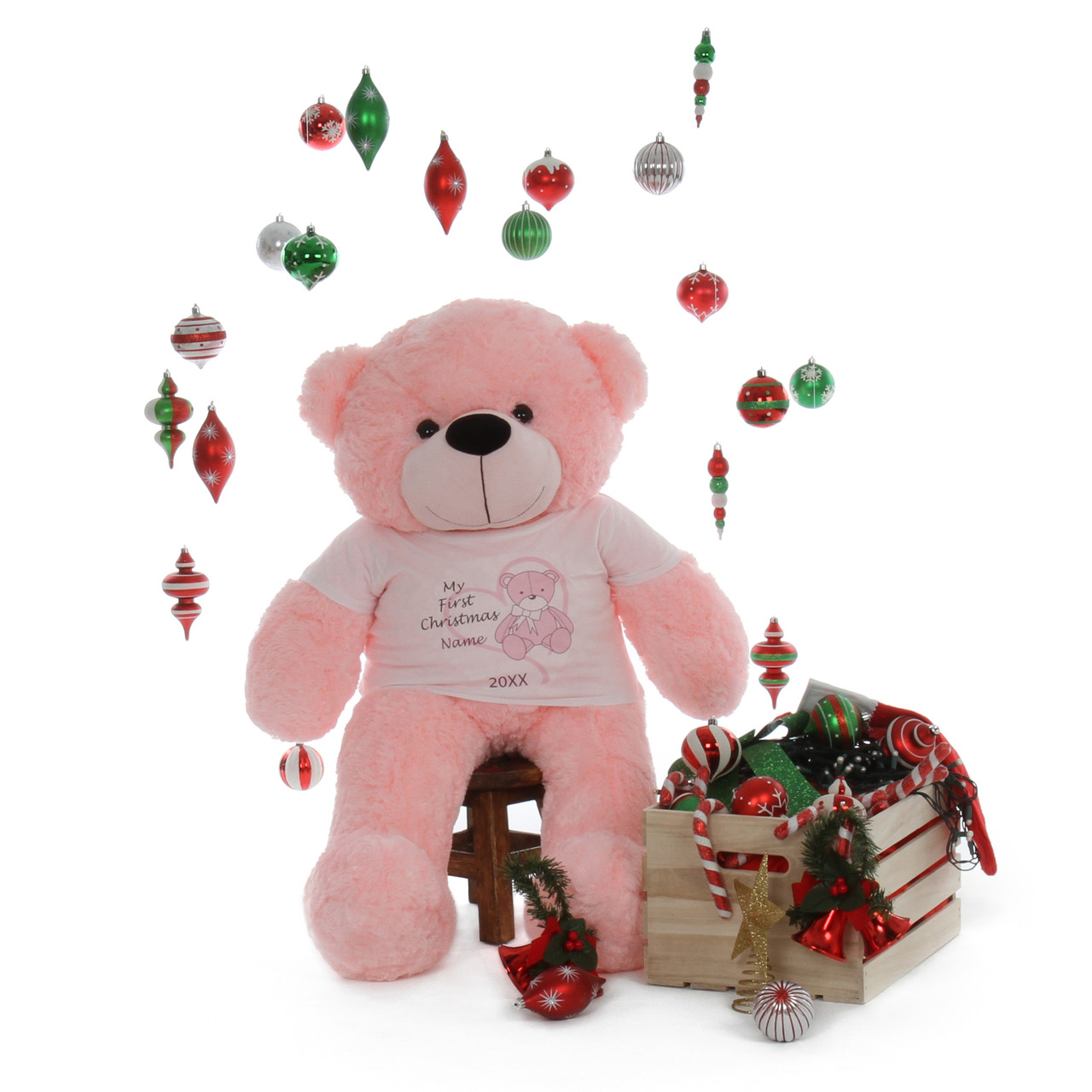 48in Pink Lady Cuddles 'My First Christmas' holiday huggable Bear Life Size