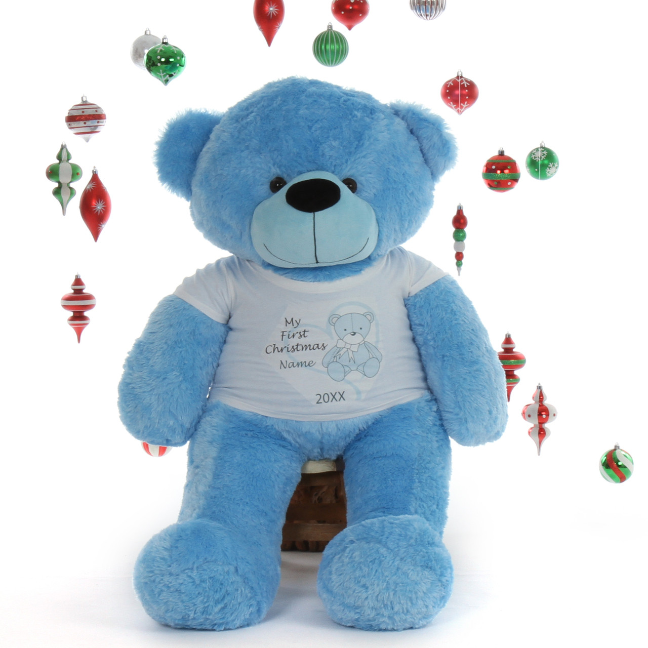 4 foot Personalized Teddy Bear Life Size  Blue Happy Cuddles with 'My First Christmas'  T-shirt