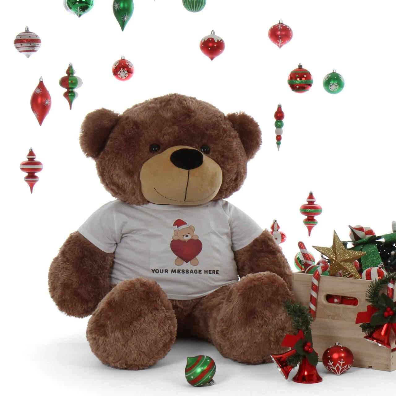 48in life size Personalized shirt huggable Christmas Teddy Bear Mocha Sunny Cuddles gift