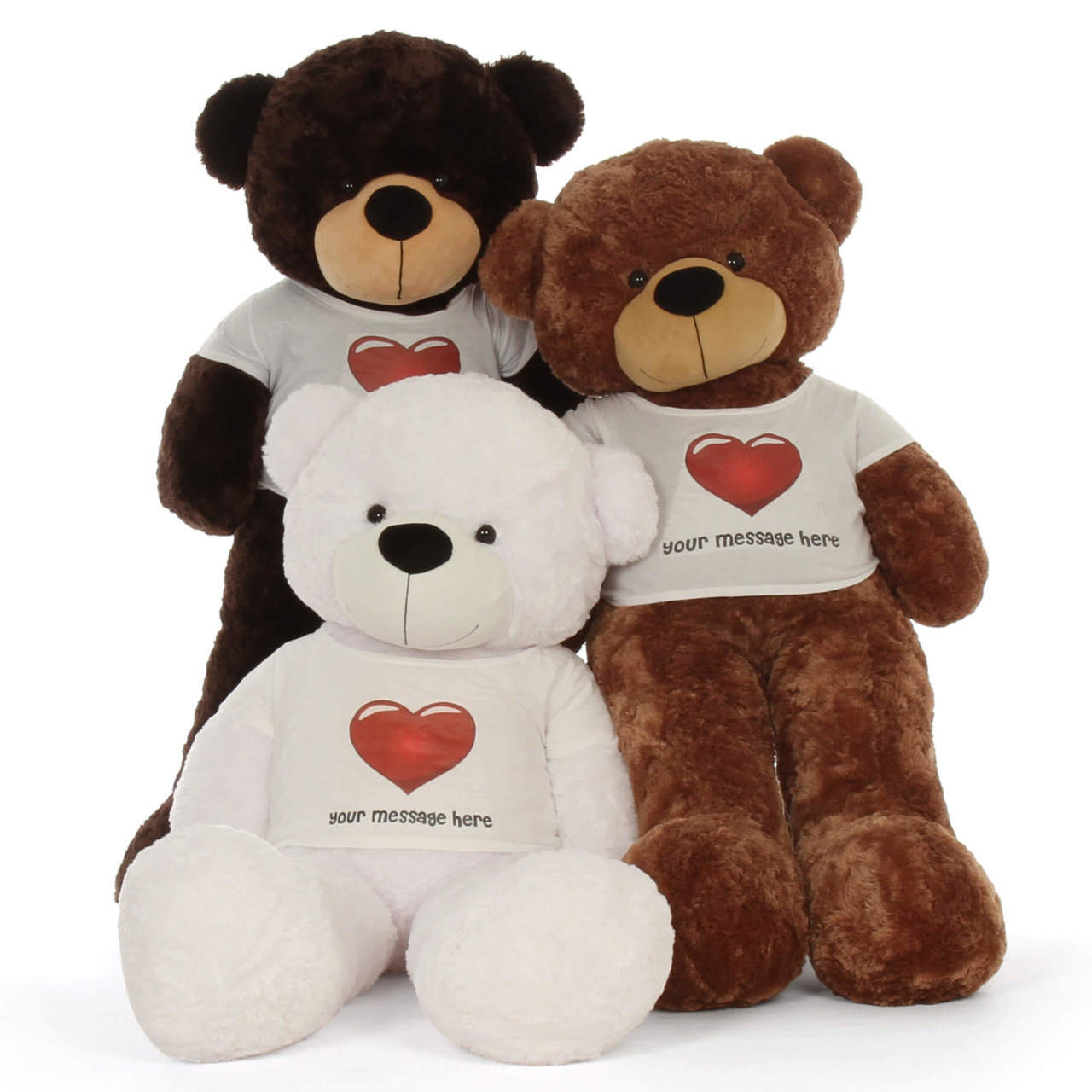 5ft life size Personalized White Chocolate Mocha Teddy Bear Cuddles in Red Heart Shirt
