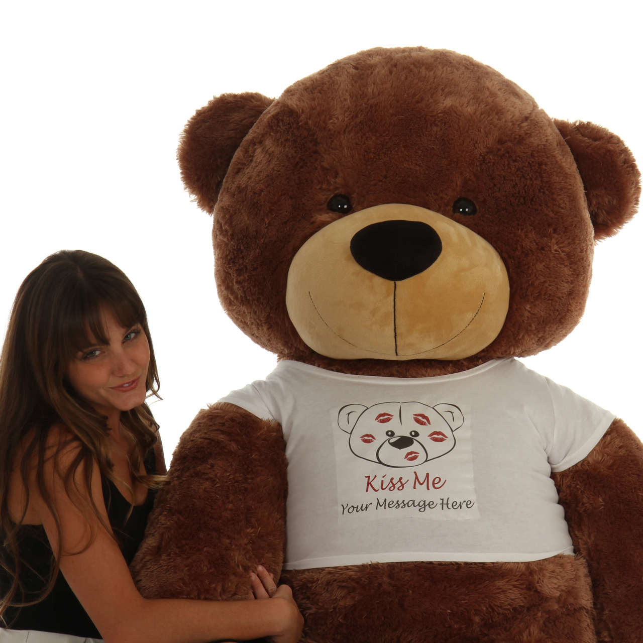 6ft Life Size Personalized Valentine's Day mocha brown Teddy Bear Sunny Cuddles  'Kiss Me' shirt