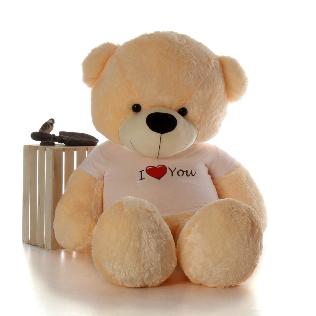 72in Best Giant  Teddy for Valentine's Day Cream Cozy Cuddles with I Love You shirt