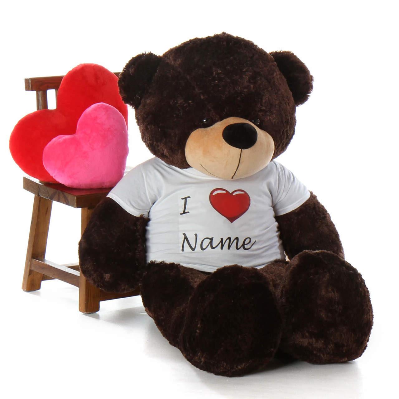 Life Size Valentine's 60in Personalized  Day Teddy Bear Brownie Cuddles dark brown fur