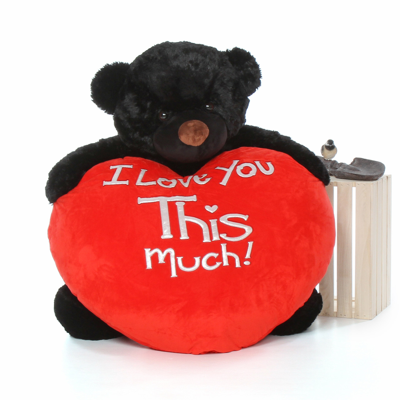 48in adorable Cuddles Life Size Valentine's Day Giant Teddy bear Black Fur Red Plush Heart
