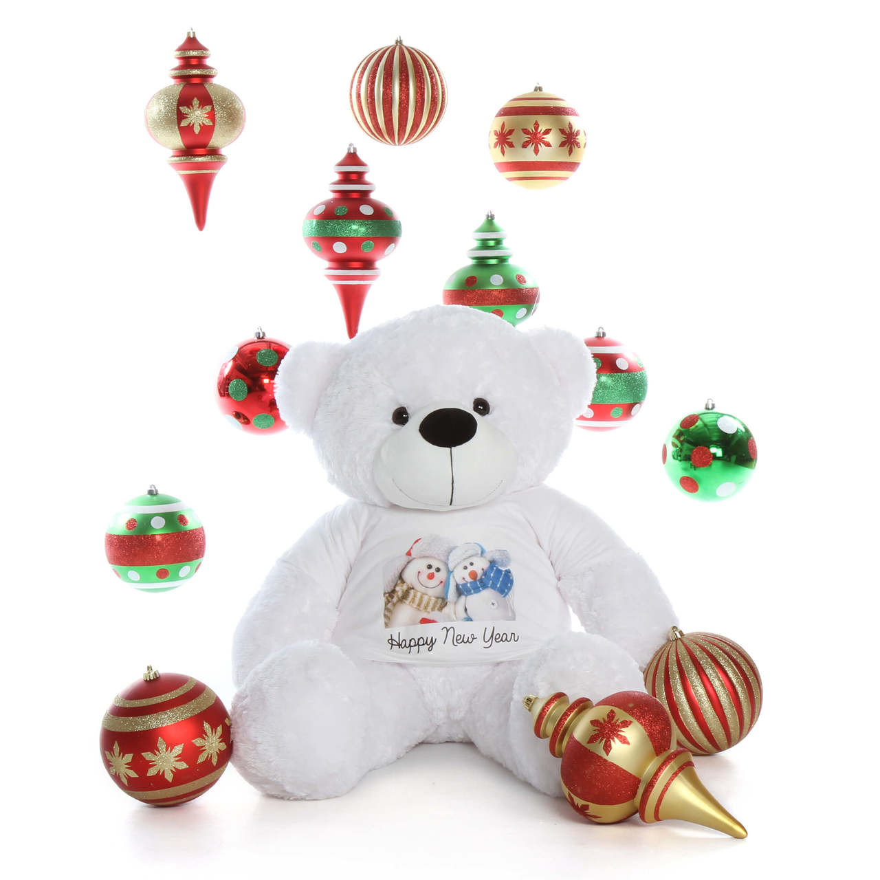 48in White Fur Giant Teddy in Happy New Year T-Shirt