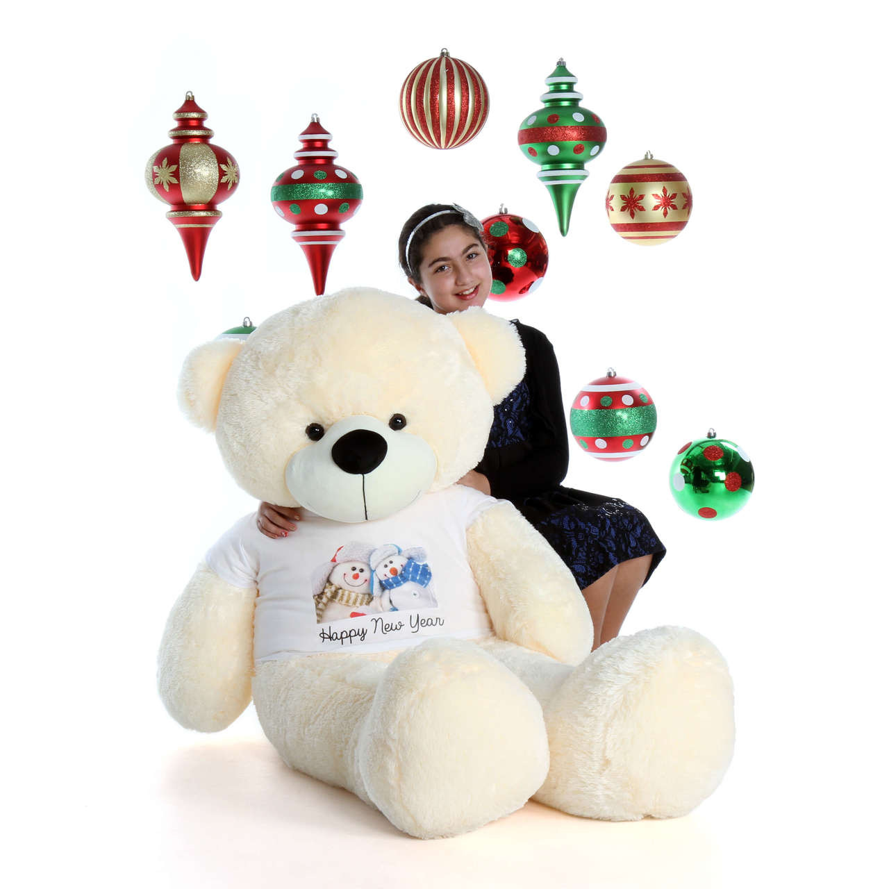 5ft Cozy Cuddles with Snowmen Happy New Year T-Shirt Vanilla Cream Teddy Bear