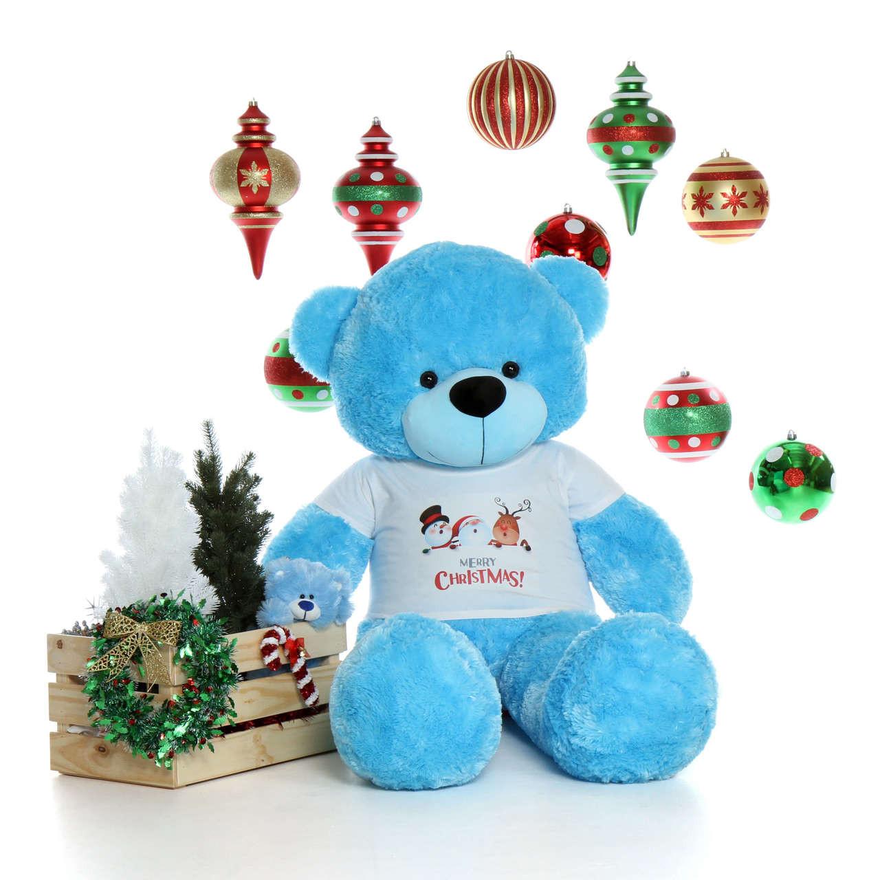 60in Happy Cuddles Ready for Christmas Giant Blue Teddy Bear