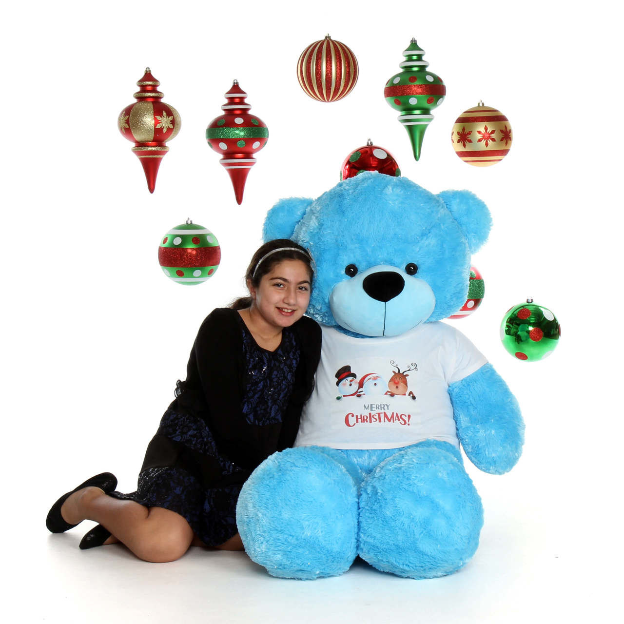 5ft Light Blue Soft and Fluffy Merry Christmas Teddy Bear