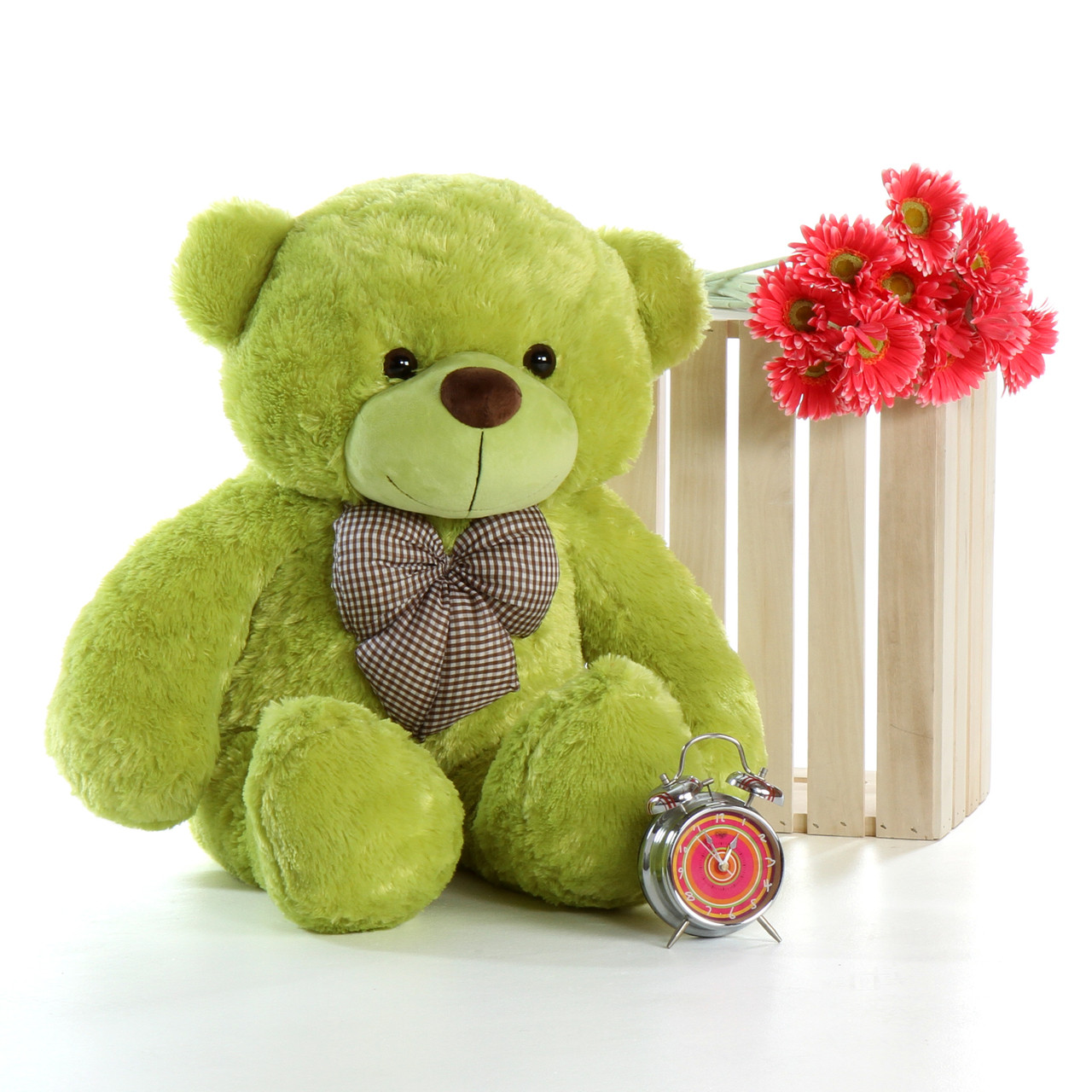 4ft Ace Cuddles Giant Teddy Lime Green Super Soft Bear