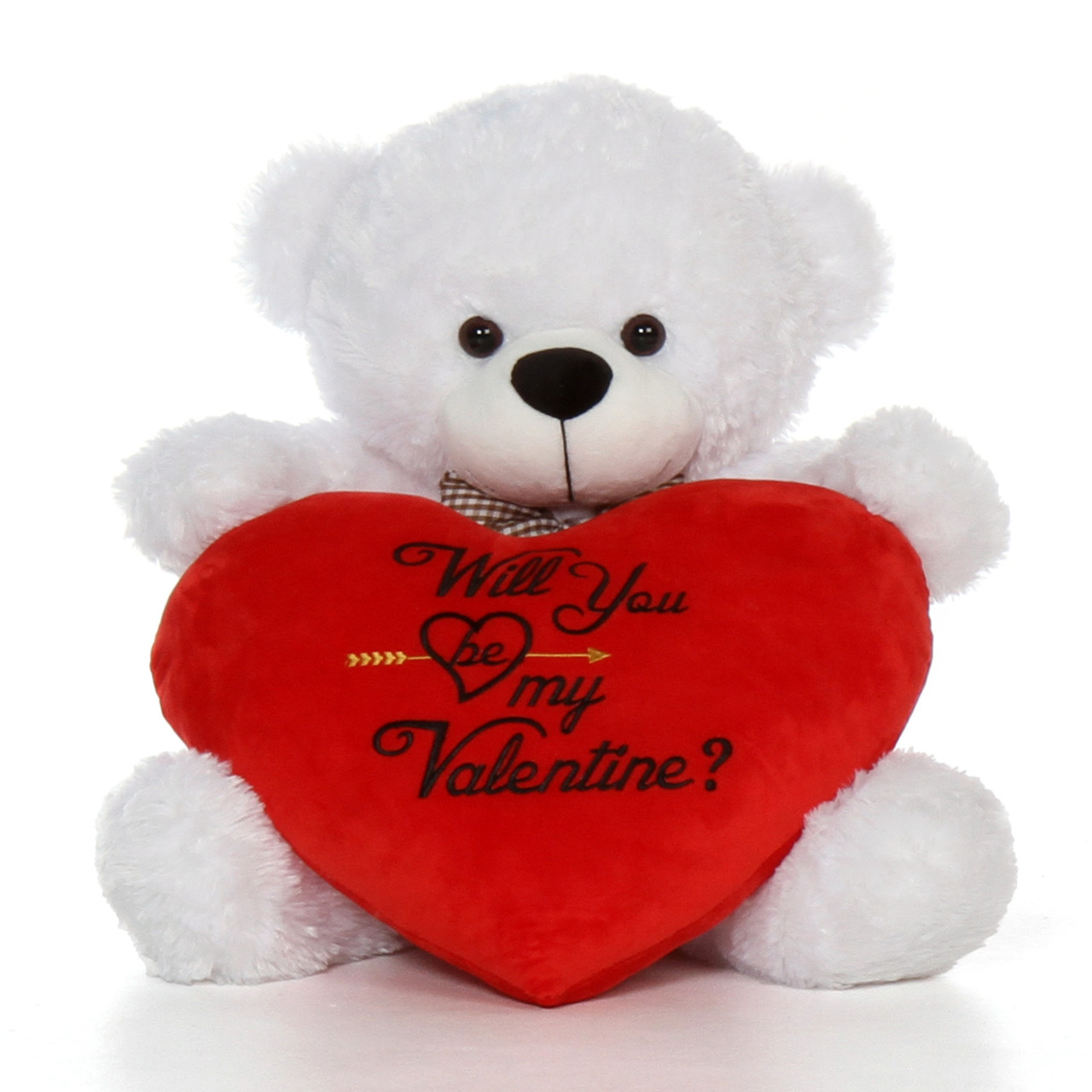 2.5ft White Teddy Bear with Plush Red Heart