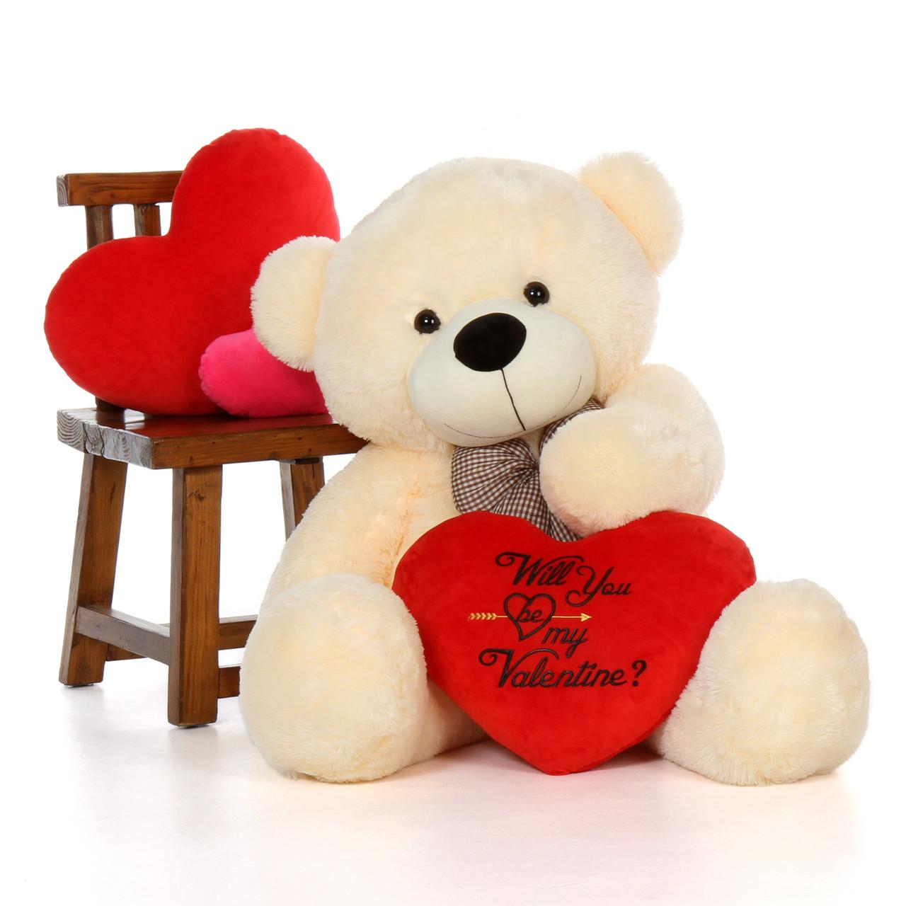 "48"" Vanilla Cream Giant Teddy w Plush Red Heart"