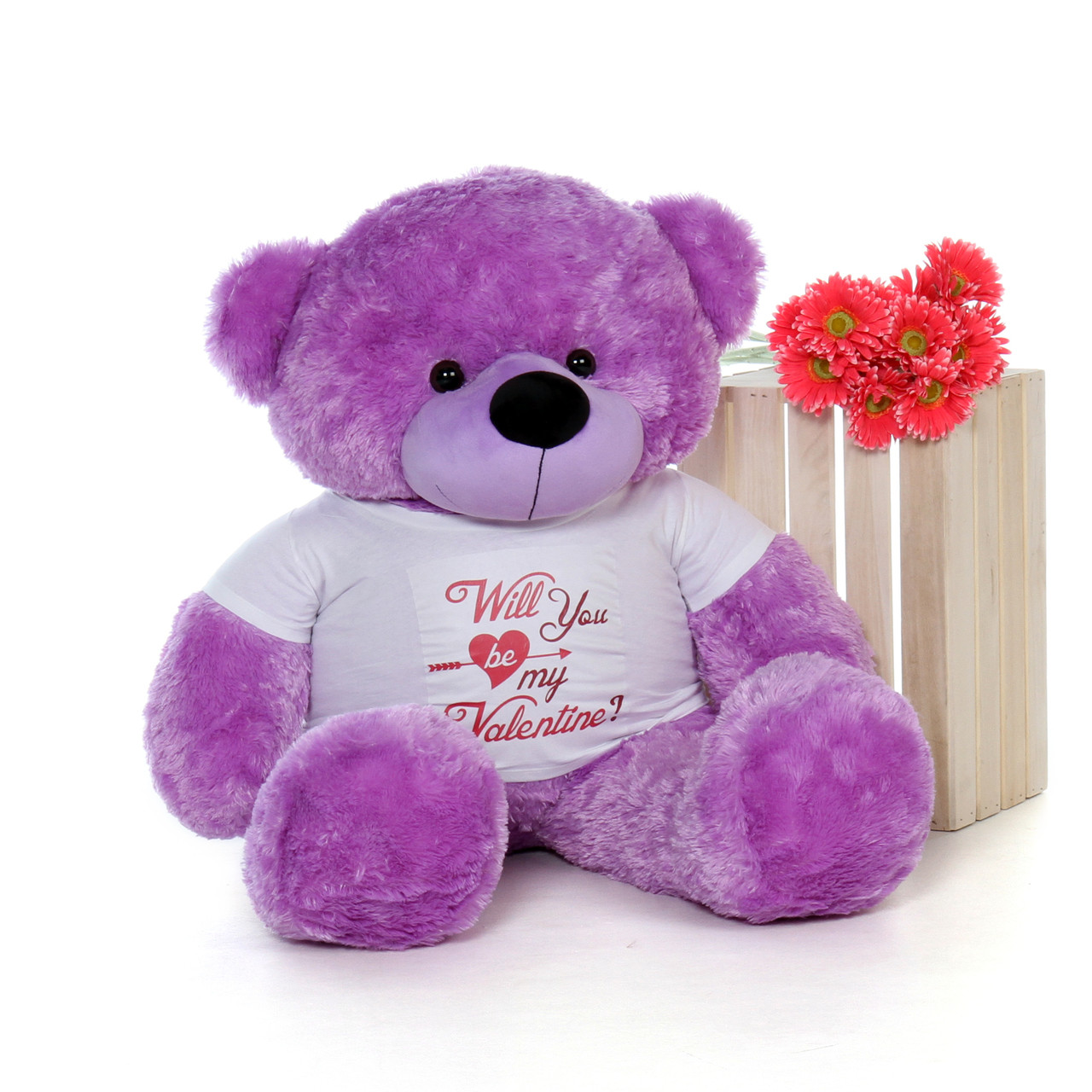 """48in Valentine's Day Teddy Purple Bear Dee Dee Cuddles wearing a """"Will You Be My Valentine?"""" Shirt"""