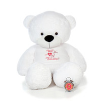 72in White Coco Cuddles Giant Teddy Bear in XXL Will You Be My Valentine T-Shirt