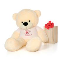 6ft Giant Teddy Bear Cozy Cuddles in XXL Will You Be My Valentine Shirt
