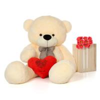 6f Vanilla Cozy Cuddles Giant Teddy Bear w Happy Valentine's Day ILY red Heart
